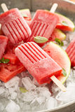 Watermelon and strawberry popsicles Royalty Free Stock Images
