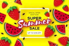 Watermelon and Strawberry Super Summer Sale Banner in paper cut style. Origami juicy ripe watermelon slices. Healthy. Food on yellow. Square frame for text Royalty Free Stock Image