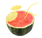 Watermelon with straws. To drink  isolated on white Stock Images