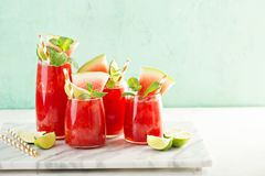 Watermelon summer drink. With lime juice, sluchie or smoothie stock photos