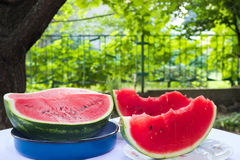 Watermelon - summer refreshment. Ripe, red watermelon on the table,photography Royalty Free Stock Image