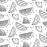Watermelon summre fruit black white concept. Fern botanical scandinavian sketch pattern. Retro line art tropical print. Geometric trendy vintage sketch food Royalty Free Stock Images