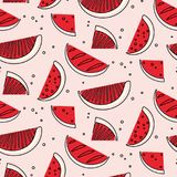 Watermelon summre fruit concept. Fern botanical scandinavian pattern. Retro line art tropical print. Geometric trendy. Vintage sketch food. Healthy fern texture Royalty Free Stock Images