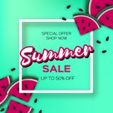 Watermelon Super Summer Sale Banner in paper cut style. Origami juicy ripe watermelon slices. Healthy food on green. Summertime. Square frame for text. Vector Royalty Free Stock Photos