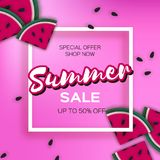 Watermelon Super Summer Sale Banner in paper cut style. Origami juicy ripe watermelon slices. Healthy food on pink. Summertime. Square frame for text. Vector Stock Photography