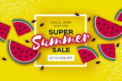 Watermelon Super Summer Sale Banner in paper cut style. Origami juicy ripe watermelon slices. Healthy food on yellow. Square frame for text. Summertime. Vector Stock Photography