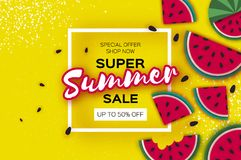 Watermelon Super Summer Sale Banner in paper cut style. Origami juicy ripe watermelon slices. Healthy food on yellow Stock Image