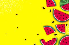 Watermelon Super Summer Sale Banner in paper cut style. Origami juicy ripe watermelon slices. Healthy food on yellow. Square frame for text. Summertime. Vector Royalty Free Stock Photo