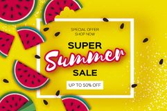 Watermelon Super Summer Sale Banner in paper cut style. Origami juicy ripe watermelon slices. Healthy food on yellow. Summertime. Vector Stock Image