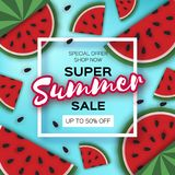 Watermelon Super Summer Sale Banner in paper cut style. Origami juicy ripe watermelon slices. Healthy food on blue. Square frame for text. Summertime. Vector Royalty Free Stock Photos