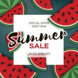 Watermelon Super Summer Sale Banner in paper cut style. Origami juicy ripe watermelon slices. Healthy food on green. Summertime. Square frame for text.Vector Stock Photography