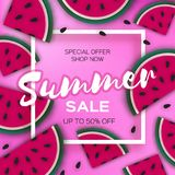 Watermelon Super Summer Sale Banner in paper cut style. Origami juicy ripe watermelon slices. Healthy food on pink. Summertime. Square frame for text. Vector Stock Images