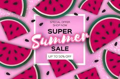 Watermelon Super Summer Sale Banner in paper cut style. Origami juicy ripe watermelon slices. Healthy food on pink. Summertime. Square frame for text. Vector Royalty Free Stock Photography