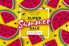 Watermelon Super Summer Sale Banner in paper cut style. Origami juicy ripe watermelon slices. Healthy food on yellow. Square frame for text. Summertime. Vector Stock Photos