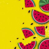 Watermelon Super Summer Sale Banner in paper cut style. Origami juicy ripe watermelon slices. Healthy food on yellow. Square frame for text. Summertime. Vector Royalty Free Stock Photos