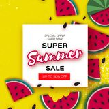 Watermelon Super Summer Sale Banner in paper cut style. Origami juicy ripe watermelon slices. Healthy food on yellow Royalty Free Stock Images