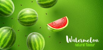 Watermelon sweet fruits flavour banner design. Watermelon flavour poster banner design with pattern and copyspace. Whole fresh ripe sweet fruit with sliced juicy stock illustration