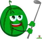 Watermelon swinging his golf club Stock Images