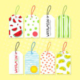 Watermelon tags. Collection design fruit tags on watermelon subject. Layout tags with healthy food for vegetarian store Royalty Free Stock Photos