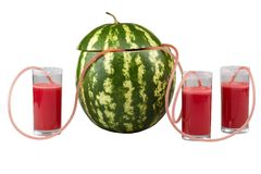 Watermelon and three glasses of juice. In the catheter Royalty Free Stock Image