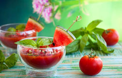 Watermelon Tomato Gazpacho Royalty Free Stock Photo