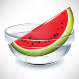 Watermelon in transparent bowl Stock Image