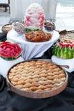 Watermelon and turkish sweets. Beautiful watermelon and turkish sweets in Belek restoran Stock Image