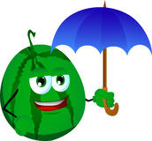 Watermelon with umbrella Stock Image
