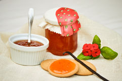Watermelon and vanilla jam. Ingredients you need for watermelon and vanilla jam Royalty Free Stock Image