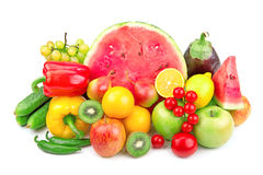 Watermelon and a variety of fruits and vegetables Royalty Free Stock Photography
