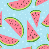 Watermelon vector colorful seamless pattern on blu Royalty Free Stock Images