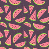 Watermelon vector colorful seamless pattern on bro Stock Images