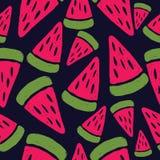 Watermelon. Vector seamless pattern. Pop art style. stock illustration