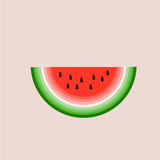 Watermelon vector. Slice of watermelon vector illustration over pink backgroung Stock Image