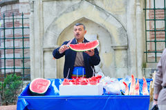 Watermelon Vendor in Istanbul royalty free stock image
