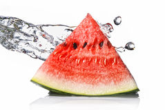 Watermelon and water splash Stock Photography