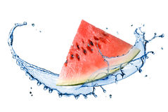 Watermelon and water splash Stock Photos