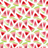 Watermelon watercolor pattern. Tropical food illustration. Textile seamless design Stock Photos