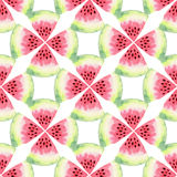 Watermelon watercolor seamless pattern. Modern food illustration. Textile print design vector illustration