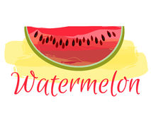 Watermelon with watercolors on white background. Vector illustration. Royalty Free Stock Photos