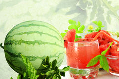 Watermelon and watermelon juice Royalty Free Stock Photos