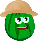 Watermelon wearing scout or explorer hat Stock Image