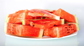 Watermelon white plate Stock Photo