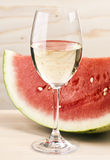 Watermelon with white wine Stock Images