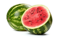 Watermelon. Whole and a half of watermelon on white background Stock Photography