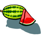 Watermelon Whole and wedge. Cute Watermelon and Watermelon slice wedge vector cartoon Stock Image