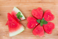 Watermelon on  wooden background. Stock Images