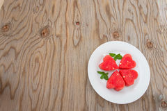 Watermelon on  wooden background. Royalty Free Stock Images
