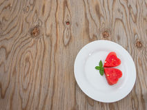 Watermelon on  wooden background. Royalty Free Stock Photos