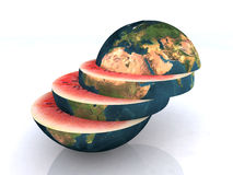 The watermelon world slice Royalty Free Stock Photography